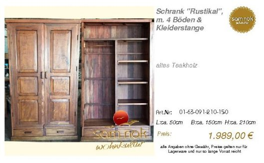 01-63-091-210-150-Schrank _Rustikal_, m. 4 Bö