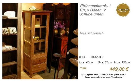 01-63-400-Vitrinenschrank, 1 Tür, 3 B