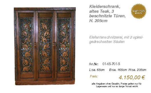 01-63-701-3-Kleiderschrank, altes Teak,