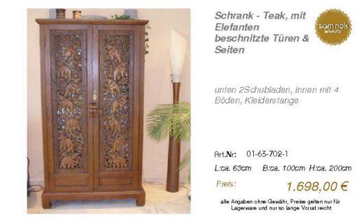 01-63-702-1-Schrank - Teak, mit Elefant