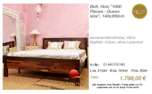 01-64-013-140-Bett, Holz _1000 Pieces - Q