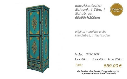 212-63-000-marokkanischer Schrank, 1 T