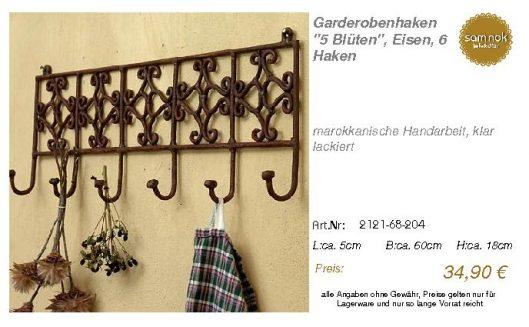2121-68-204-Garderobenhaken _5 Blüten_, _sam nok