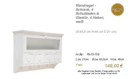 45-63-002-Wandregal - Schrank, 4 Schu