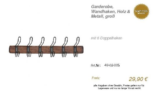 49-62-005-Garderobe, Wandhaken, Holz _sam nok