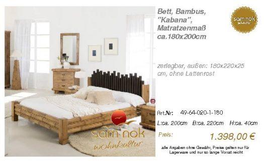49-64-020-1-180-Bett, Bambus, _Kabana_, Mat