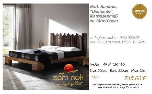 49-64-020-180-Bett, Bambus, _Diamante_, M