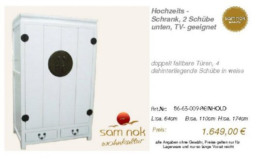 86-63-009-REINHOLD-Hochzeits - Schrank, 2 Schü