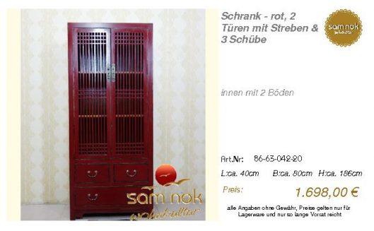 86-63-042-20-Schrank - rot, 2 Türen mit