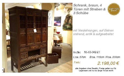 86-63-042-21-Schrank, braun, 4 Türen mit