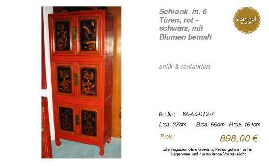 86-63-072-7-Schrank, m. 6 Türen, rot -