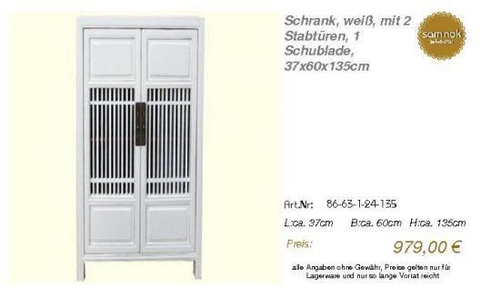 86-63-1-24-135-Schrank, weiß, mit 2 Stabtü