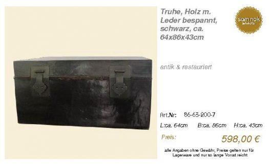 86-63-200-7-Truhe, Holz m. Leder bespan _sam nok