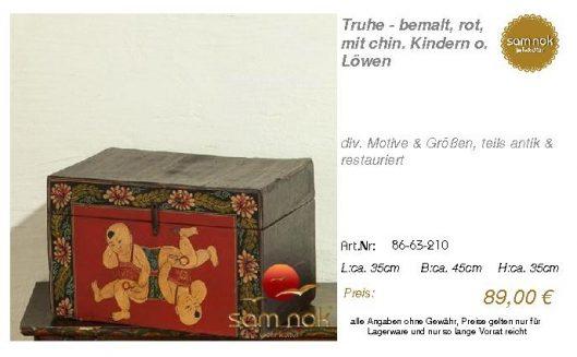 86-63-210-Truhe - bemalt, rot, mit ch _sam nok