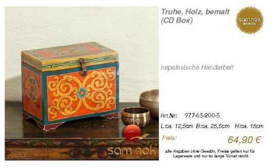 977-63-200-3-Truhe, Holz, bemalt (CD Box _sam nok